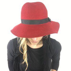 Vintage Lancaster 100% Wool Women's Red Hat Ribbon